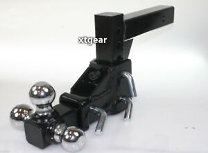 2 Tri Ball Tow Hitch Mount 3 Ball Adjustable Vertical Travel Solid Raise Drop