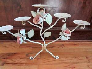 Italian Tole Chic Candelabra Chic Shabby Rose Metal Distressed