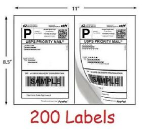 200 Shipping Labels Blank Self Adhesive Printer Paper For Usps Postage 8 5 X 5 5