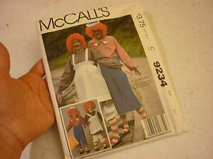 Vintage 1984 Mccall S Fashion Pattern 9234 Halloween Mcdonald Boy Girl