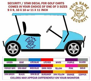 Golf Cart Security Vehicle Lettering Graphic Decals Free Shipping