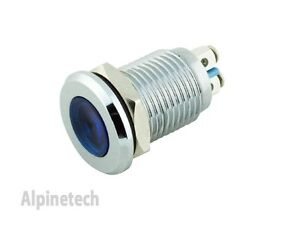 Pl12b Ati 12mm Blue 12v Led Metal Indicator Pilot Dash Light Lamp Screw Terminal