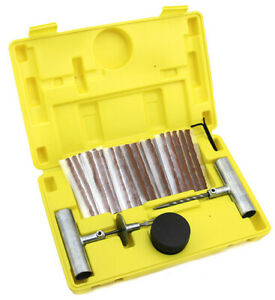 35pcs Tire Repair Tool Kit Case Plug Patching Tubeless Tires Insert Spiral Hex