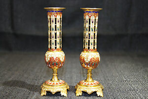 French Champleve Enamel Gilt Bronze Pair Of Bud Vases 1880s