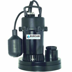 Burcam Pumps 1 3 Hp Thermoplastic Submersible Sump Pump W Tether Float Switch