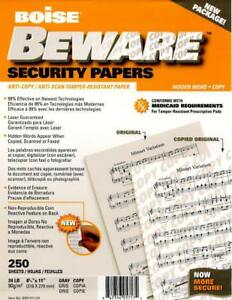 Boise Beware Anti copy Security Paper 8 5 X 11 24 Gray 2500 Sheet Count Total