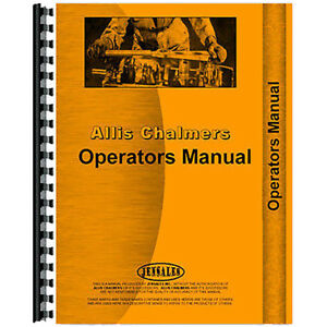 Aftermarket Operators Manual For Allis Chalmers Crawler Models Hd11f
