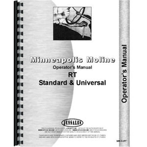 New Minneapolis Moline Rt Tractor Operators Manual