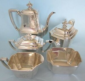 Sterling Silver Tiffany 5 Piece Set Coffee Pot Teapot Sugar Creamer Waste