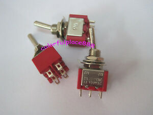 50x Red Dpdt Mini Toggle Switches On On Car Diy Switch 2a 250vac 5a 120vac 6 pin