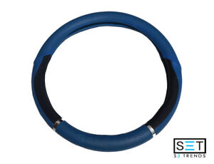 Vinyl Standard Steering Wheel Cover Protect Blue Black Comfort Grip Chrome Car
