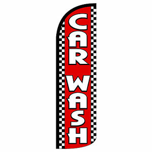 Windless Swooper Feather Flag Tall Banner Sign 3 Wide Car Wash Red White
