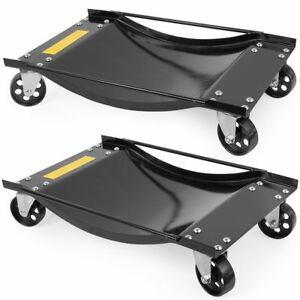 Set Of 2pcs Rolling Vehicle Auto Car Tire Dolly Wheels Garage Handle 1000 Lbs