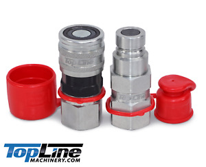 Tl23 1 2 Npt Flat Face Hydraulic Quick Coupler Coupling Set Bobcat Skid Steer