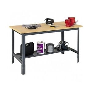 Shop Workbench Industrial Commercial Work Bench Table Adjust Height Wood Steel