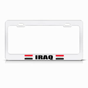 Iraq Country Flag White Steel Heavy Duty License Plate Frame Tag Border