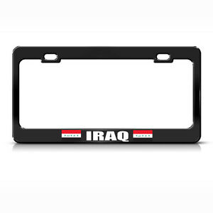 Iraq Country Flag Black Steel Heavy Duty License Plate Frame Tag Border