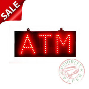 Atm Sign Ultra bright Red Led Lighted Sign New In Box free Shipping
