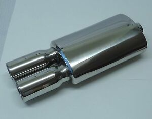 Universal Stainless Steel Dual Round Tips Performance Muffler 2 5 Inlet