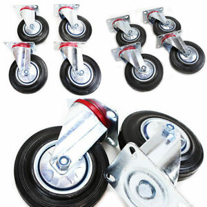 8 Pack 4 Swivel Caster Wheels Rubber Base With Top Plate Bearing Heavy Duty