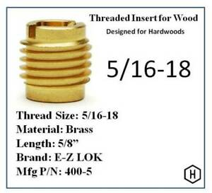 E z Lok P n 400 5 5 16 18 Threaded Brass Insert For Wood 50 Pieces