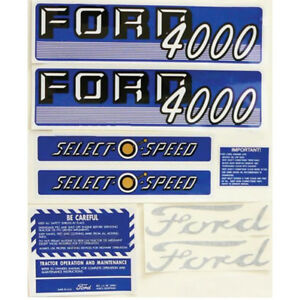 New Tractor Complete Decal Kit Made To Fit Ford 4000 Gas Select o speed