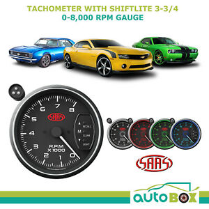 Saas 3 75 Tachometer With Shift Light Black Face 95mm 3 3 4 Performance Tacho