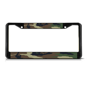Camo Black Heavy Duty Metal License Plate Frame Tag
