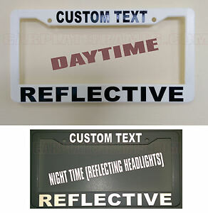 Reflective Custom Made Personalized White Black License Plate Frame