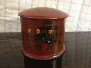 Antique Japanese Likely Meiji Period Red Lacquered Box W Figural Decoration