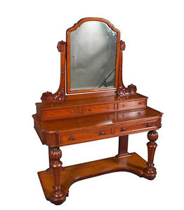 Antique Victorian Period English Mahogany Dressing Table Dresser Vanity