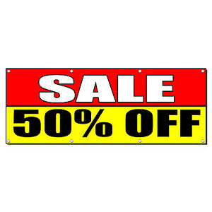 Sale 50 Off Promotion Business Sign Banner 2 X 4 W 4 Grommets