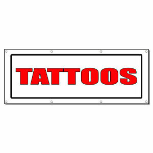 Tattoos Red Promotion Business Sign Banner 3 X 6 W 6 Grommets