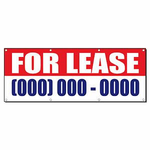 For Lease Custom Phone Number Promotion Sign Banner 3 X 6 W 6 Grommets