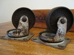 Vintage 1950 s Fairbanks 3 3 4 Swivel Caster Iron Wheels 21 4m Ball Bearing
