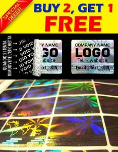 240 Custom Print Hologram Void Sticker Label Security Warranty Seals1 2 x1