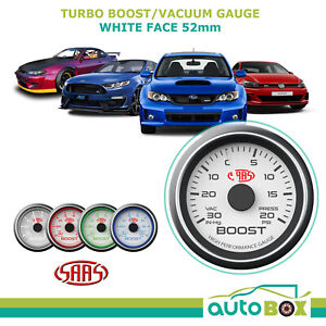 Saas 30 In Hg To 20 Psi Turbo Boost Gauge 52mm White Dial Face Wrx Xr6t Gti S15