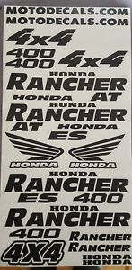 Sticker Emblem Decal Graphics Kit For Honda 400 Rancher Trx Fender Tank