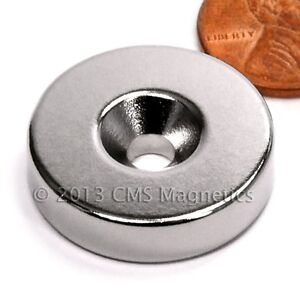 Grade N42 Neodymium Magnet Dia 1x1 4 W Countersunk Hole For 10 Screw 50 count