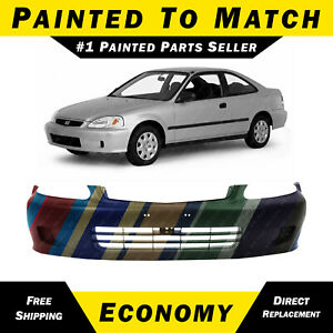 New Painted To Match Front Bumper Cover Replacement For 1999 2000 Honda Civic