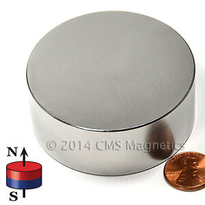 Cms Magnetics Super Powerful N45 Neodymium Disc Magnet 2 1 2 x 1 1 pc