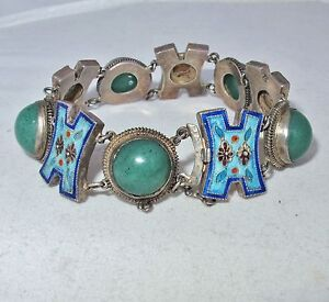 Antique Chinese Sterling Silver Bracelet With Enamel Green Jadeite 7 3 Long