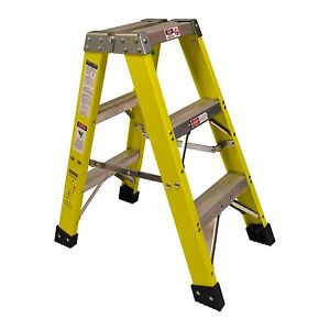 Titan 3000 3 Ft Fiberglass Double Ladder 300lb Capacity Type 1a Ex Heavy Duty