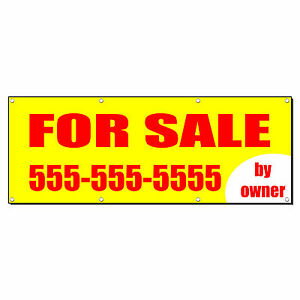 For Sale By Owner Real Estate Custom Phone Banner Sign 3 Ft X 6 Ft w 6 Grommets