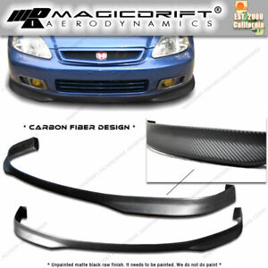 99 00 Civic 2d 2dr Flexible bm Carbon Urethane Front Bumper Pu Lip Spoiler