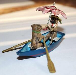 Fritz Bermann Cold Painted Bronze Figure French Bulldogs Boating 20th Century