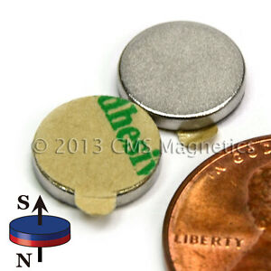 N45 Neodymium Magnets Dia 3 8x1 16 W 3m Adhesive On South 200 Pc