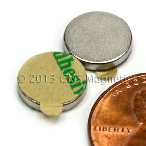 N45 Neodymium Magnets Dia 3 8x1 16 W 3m Adhesive On North 200 Pc