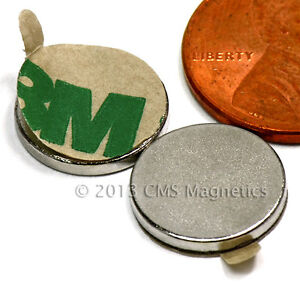 N45 Neodymium Magnets Dia 1 2x1 16 W 3m Adhesive On South 200 Pc