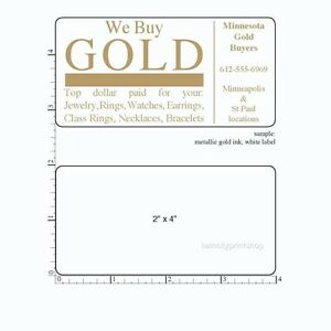 Printed Labels Rectangle 250 Custom 2 X 4 Business Stickers 1 Ink Color Roll